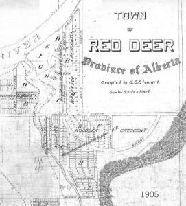 Woodlea area of the Town of Red Deer Development Plan 1905 (Click to enlarge)